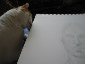 Willow helping me with  Archangel Gabriel Portrait
