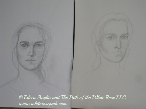 "Sketches of my next channeled painting ""Archangel Raphael, Master of the Green Light Ray"""